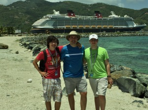 Tom, Chris and Ben ready to go in Tortola!